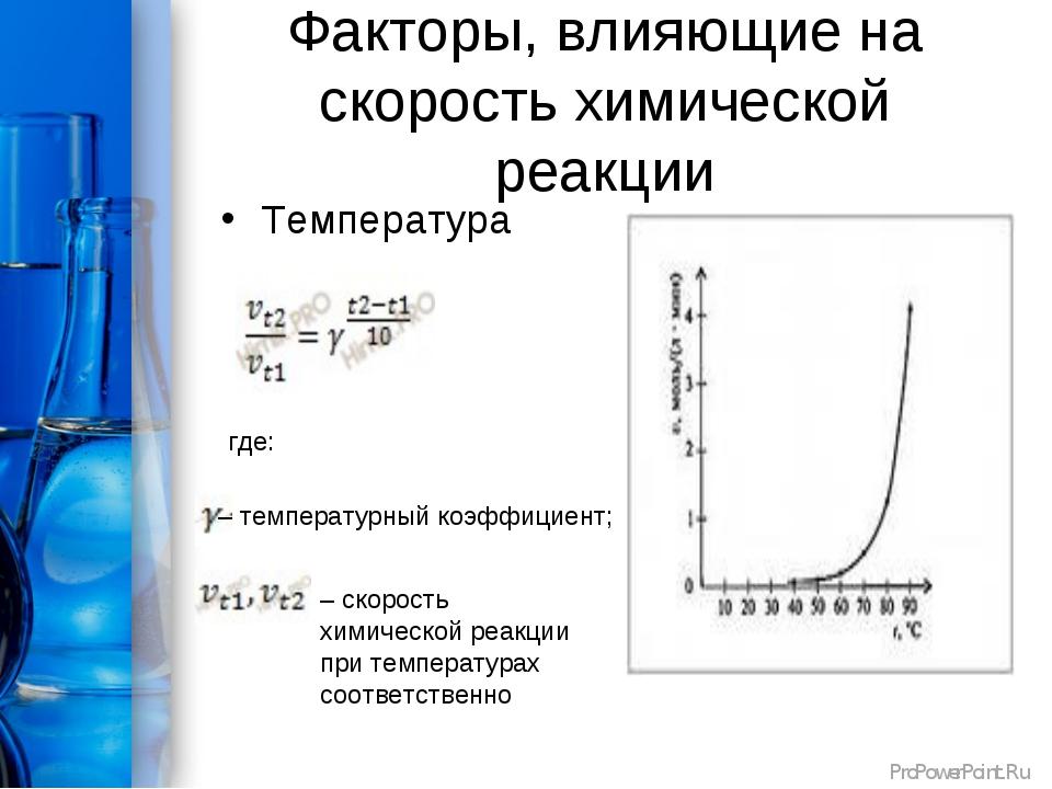 Факторы, влияющие на скорость химической реакции Температура где: – температ...