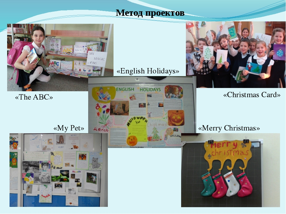 Метод проектов «The ABC» «Christmas Card» «English Holidays» «My Pet» «Merry...