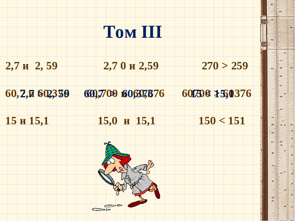 Том III 2,7 и 2, 59 2,7 0 и 2,59 270 > 259 60,7 и 60,376 60,700 и 60,376 6070...