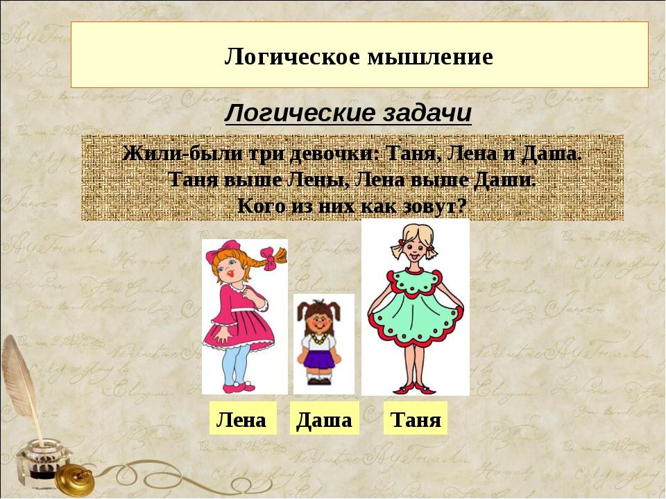 Логическое мышление Логические задачи Жили-были три девочки: Таня, Лена и Даш...