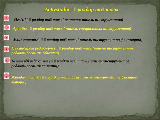 Activstudio құралдар тақтасы Негізгі құралдар тақтасы( основная панель инстру...