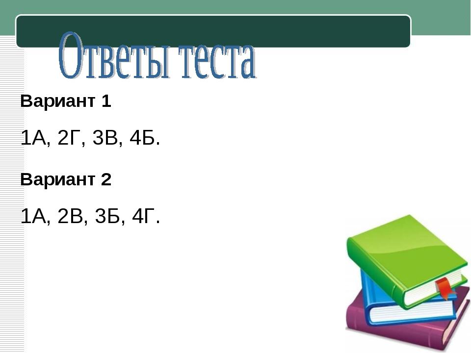 Вариант 1 1А, 2Г, 3В, 4Б. Вариант 2 1А, 2В, 3Б, 4Г.