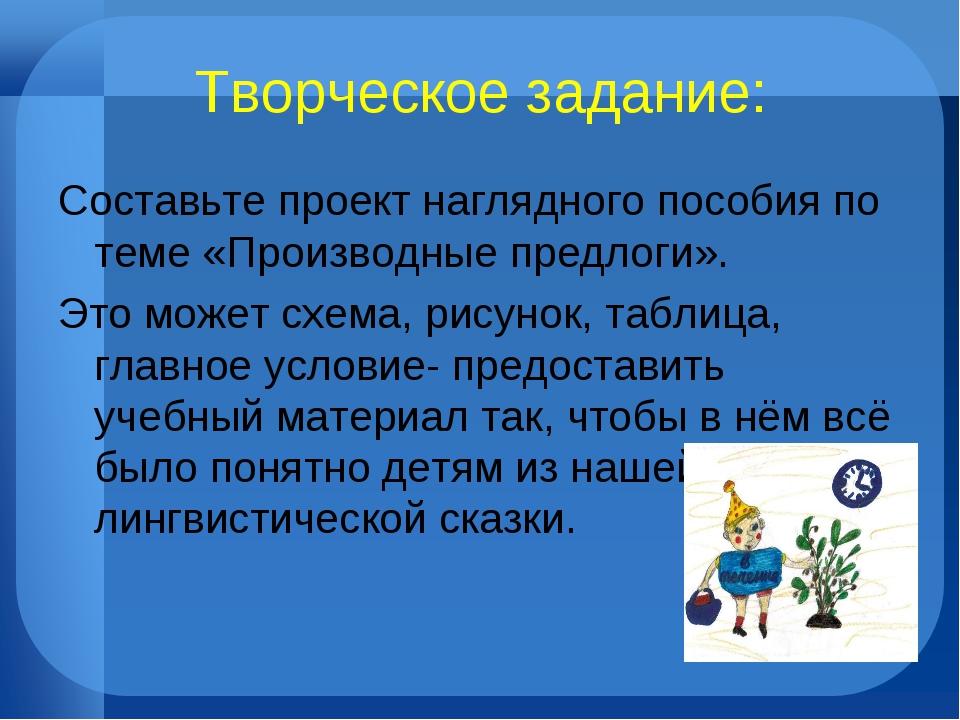 Творческое задание: Составьте проект наглядного пособия по теме «Производные...