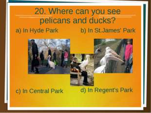 20. Where can you see pelicans and ducks? a) In Hyde Park b) In St.James' Par
