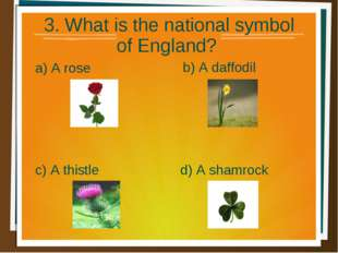 3. What is the national symbol of England? a) A rose b) A daffodil d) A sham