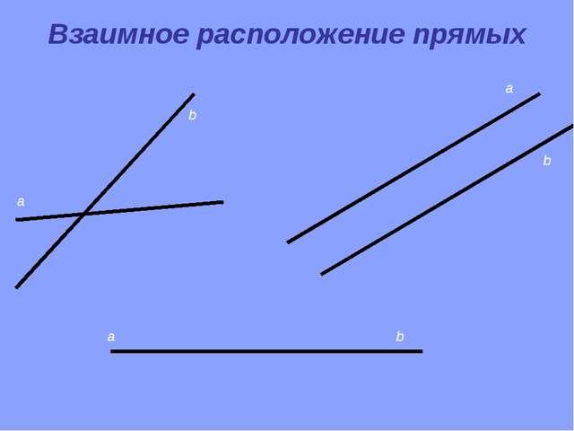 a b a b a b Взаимное расположение прямых