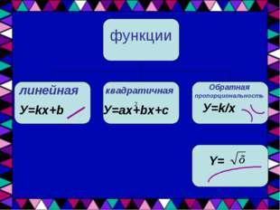 функции линейная квадратичная Обратная пропорциональность У=kx+b У=ax+bx+c У=
