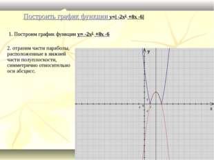 Построить график функции y=| -2x2 +8x -6| 1. Построим график функции y= -2x2
