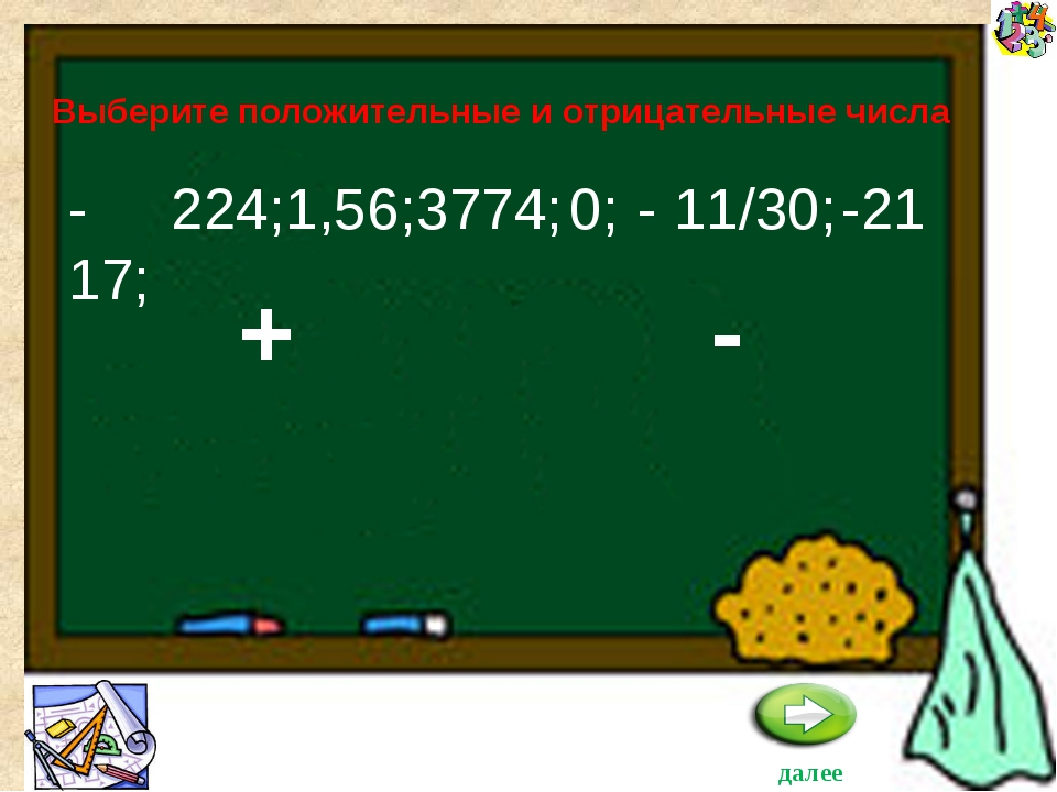 -17; -21 Выберите положительные и отрицательные числа - 11/30; 224; 1,56; 377...