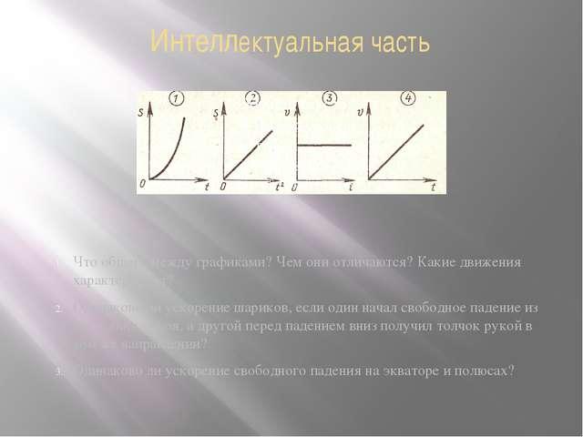 Интеллектуальная часть Что общего между графиками? Чем они отличаются? Какие...