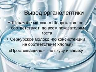 Вывод органолептики Школьное молоко « Шпаргалка» не соответствует по всем пок