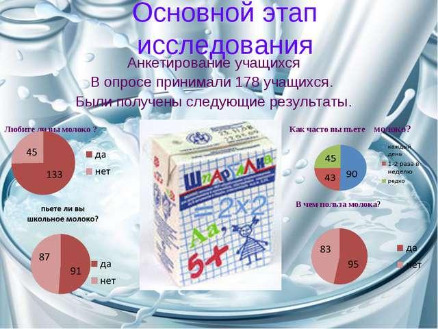 Основной этап исследования Анкетирование учащихся В опросе принимали 178 учащ...