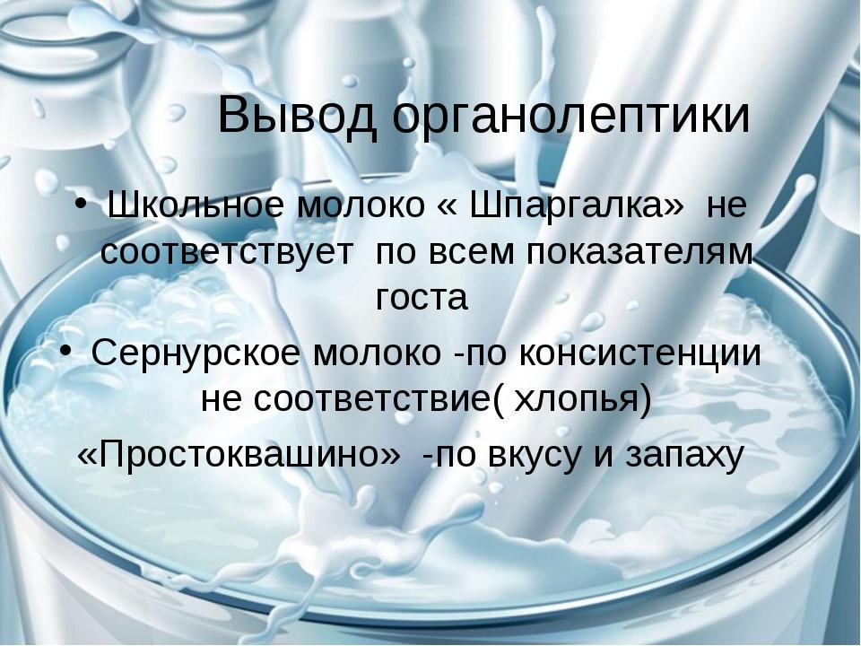 Вывод органолептики Школьное молоко « Шпаргалка» не соответствует по всем пок...
