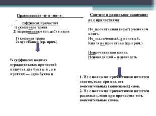 Правописание –н- и –нн- в суффиксах причастий 1) скошенная трава 2) маринов