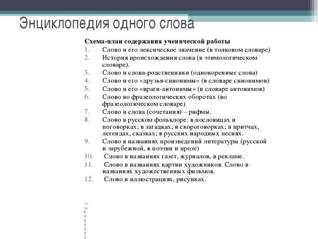 Энциклопедия одного слова Схема-план содержания ученической работы Слово и е...