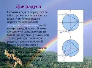 Две радуги Основная радуга образуется за счёт отражения света в каплях воды.