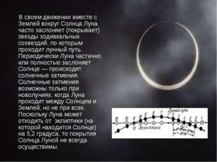 В своем движении вместе с Землей вокруг Солнца Луна часто заслоняет (покрыва