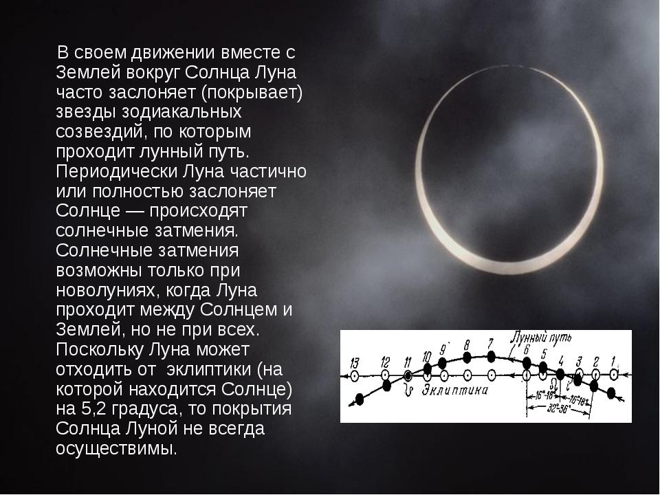 В своем движении вместе с Землей вокруг Солнца Луна часто заслоняет (покрыва...