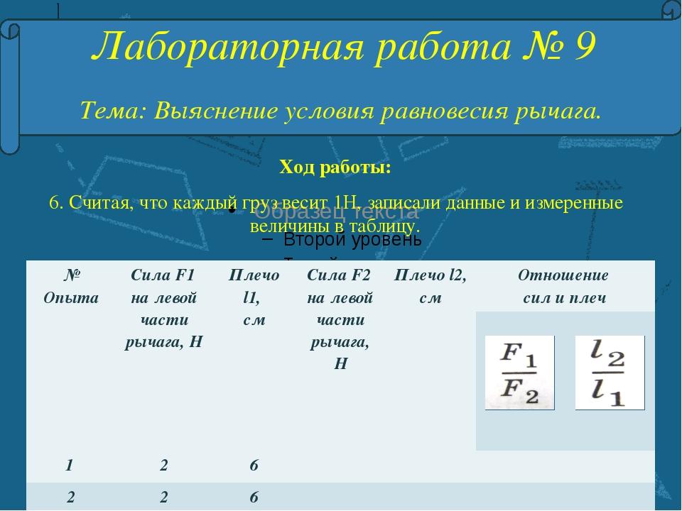 Лабораторная работа № 9 Тема: Выяснение условия равновесия рычага. Ход работ...