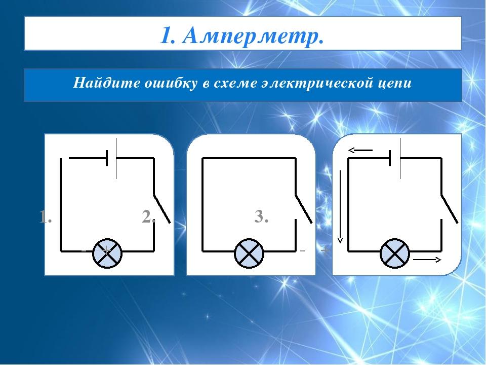 1. Амперметр. Найдите ошибку в схеме электрической цепи 1. 2. 3. - + - +