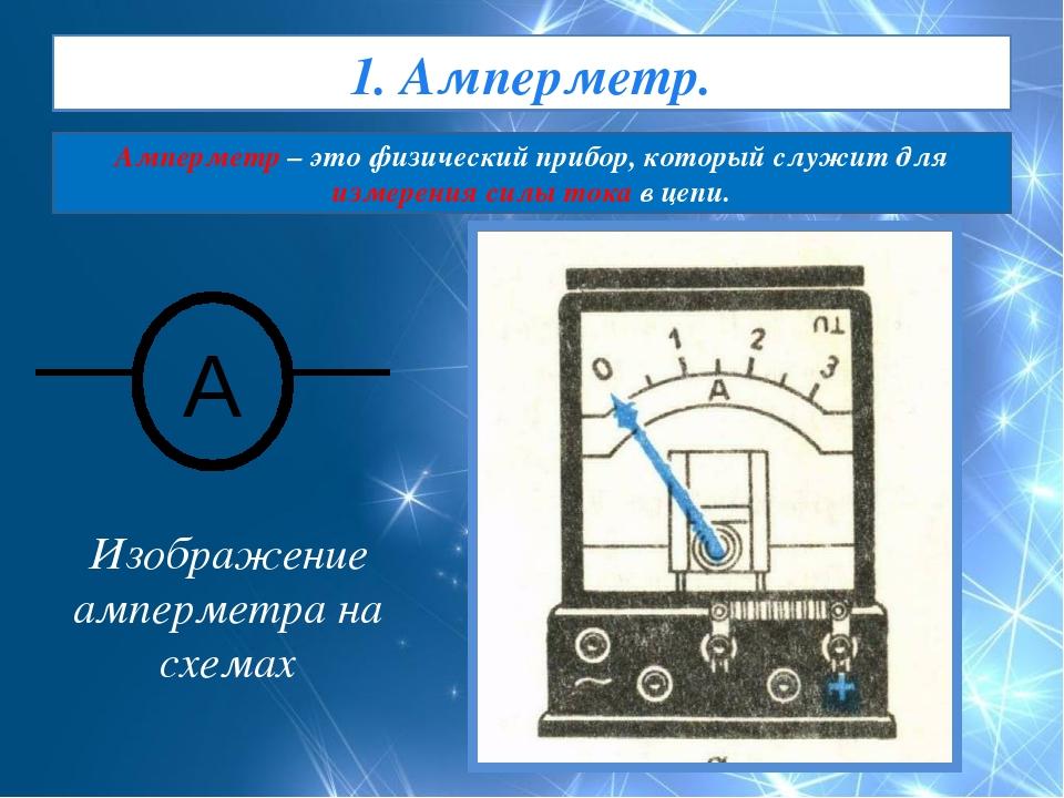 Изображение амперметра на схемах 1. Амперметр. Амперметр – это физический пр...