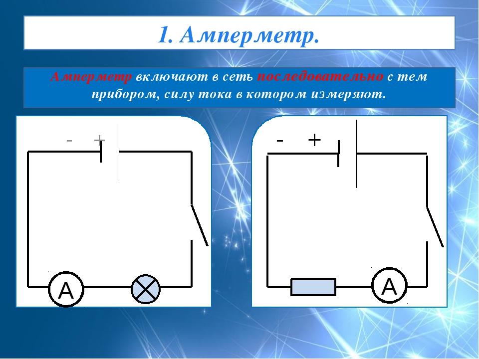 1. Амперметр. Амперметр включают в сеть последовательно с тем прибором, силу...