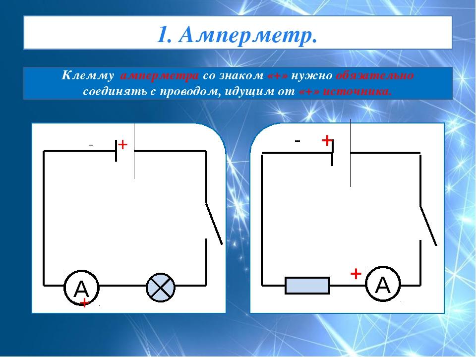 1. Амперметр. Клемму амперметра со знаком «+» нужно обязательно соединять с п...