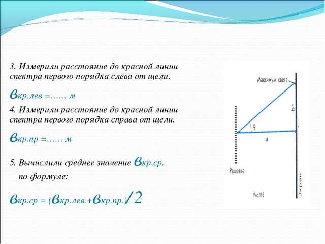 3. Измерили расстояние до красной линии спектра первого порядка слева от щели...