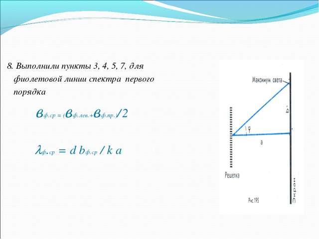 8. Выполнили пункты 3, 4, 5, 7, для фиолетовой линии спектра первого порядка...