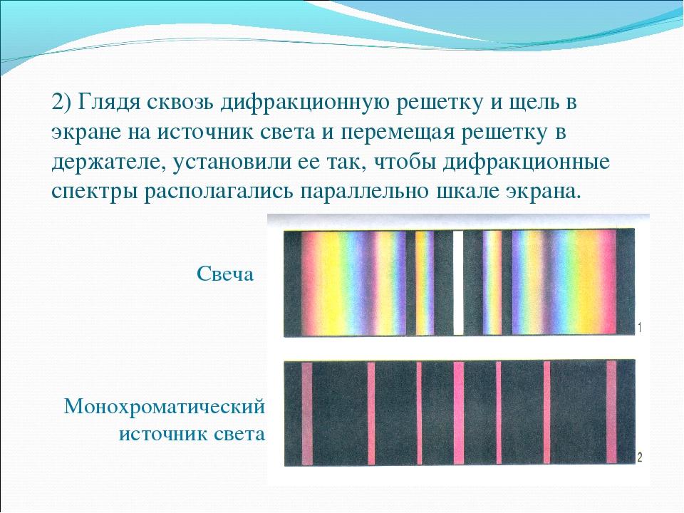2) Глядя сквозь дифракционную решетку и щель в экране на источник света и пер...