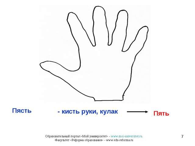 * Пясть Пять - кисть руки, кулак Образовательный портал «Мой университет» - w...