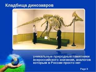 Кладбища динозавров уникальные природные памятники всероссийского значения,