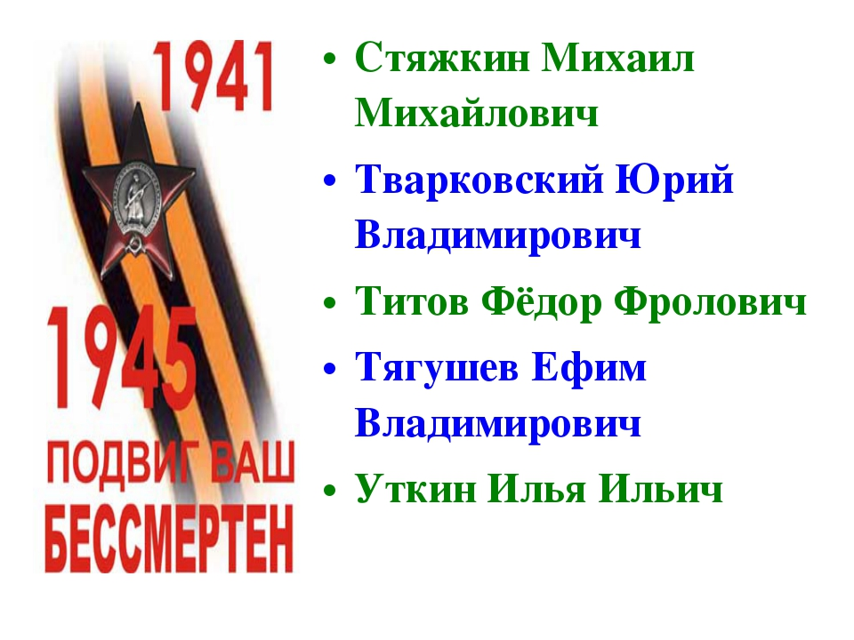 Стяжкин Михаил Михайлович Тварковский Юрий Владимирович Титов Фёдор Фролович...