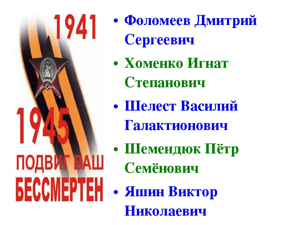 Фоломеев Дмитрий Сергеевич Хоменко Игнат Степанович Шелест Василий Галактионо...