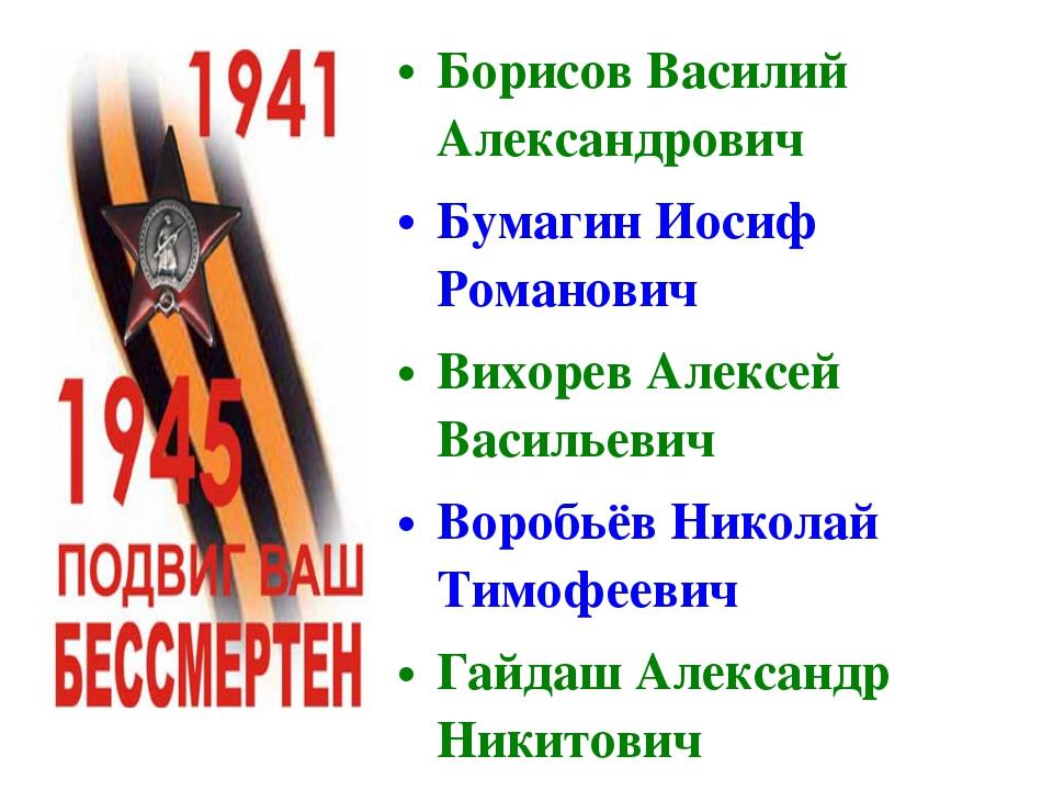 Борисов Василий Александрович Бумагин Иосиф Романович Вихорев Алексей Василье...
