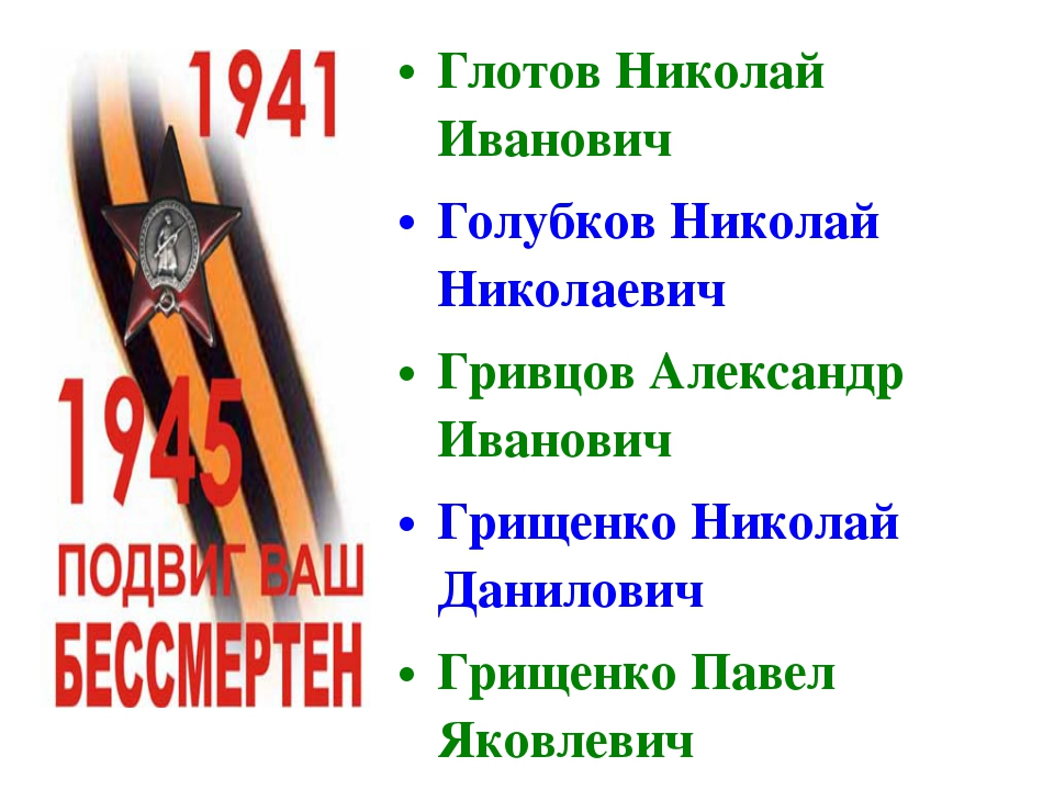 Глотов Николай Иванович Голубков Николай Николаевич Гривцов Александр Иванови...