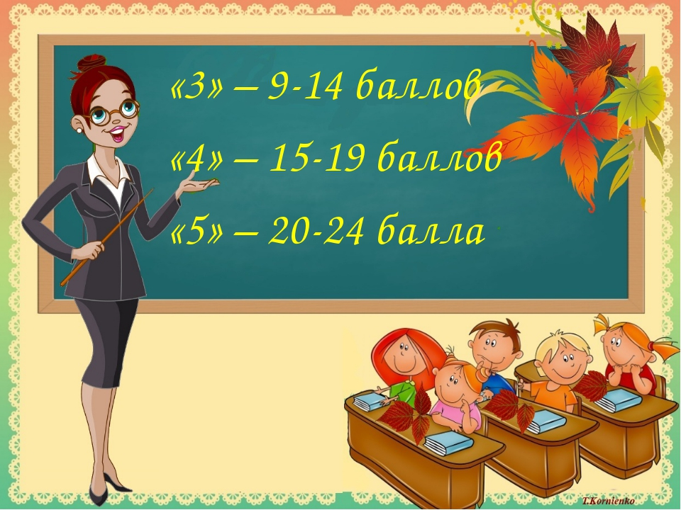 «3» – 9-14 баллов «4» – 15-19 баллов «5» – 20-24 балла