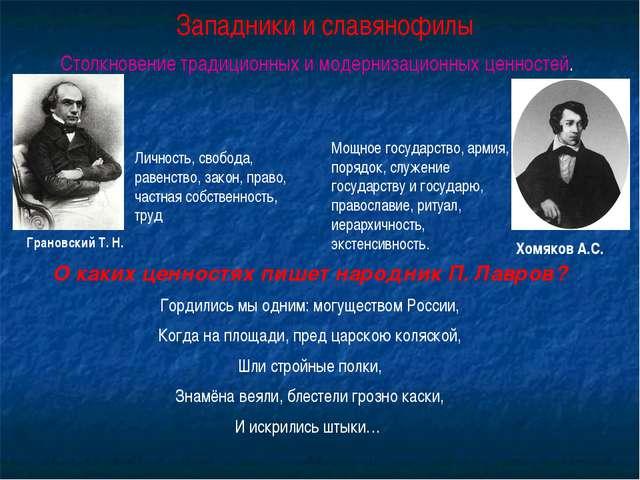 Западники и славянофилы Столкновение традиционных и модернизационных ценносте...