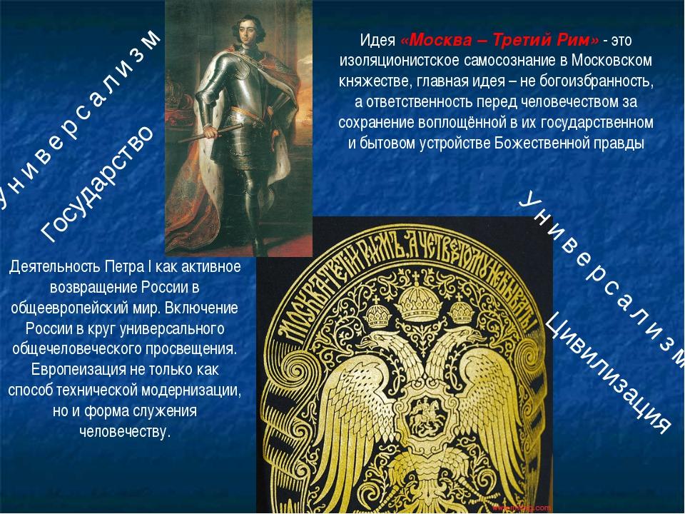 Идея «Москва – Третий Рим» - это изоляционистское самосознание в Московском к...