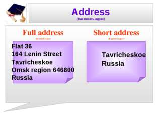 Address (Как писать адрес) Full address (полный адрес) Short address (Краткий