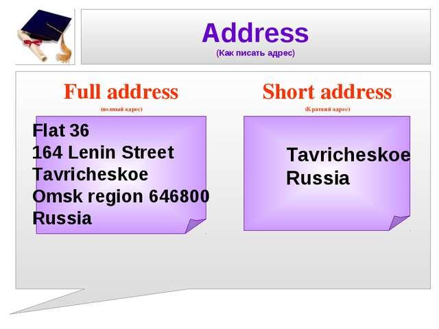Address (Как писать адрес) Full address (полный адрес) Short address (Краткий...