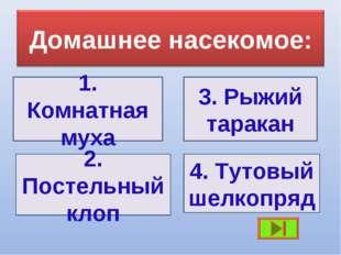 1. Комнатная муха 3. Рыжий таракан 2. Постельный клоп 4. Тутовый шелкопряд
