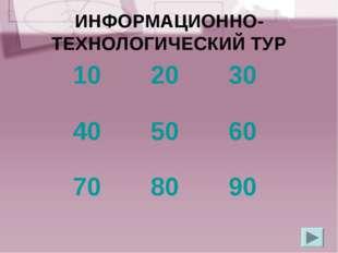ИНФОРМАЦИОННО-ТЕХНОЛОГИЧЕСКИЙ ТУР 102030 405060 708090