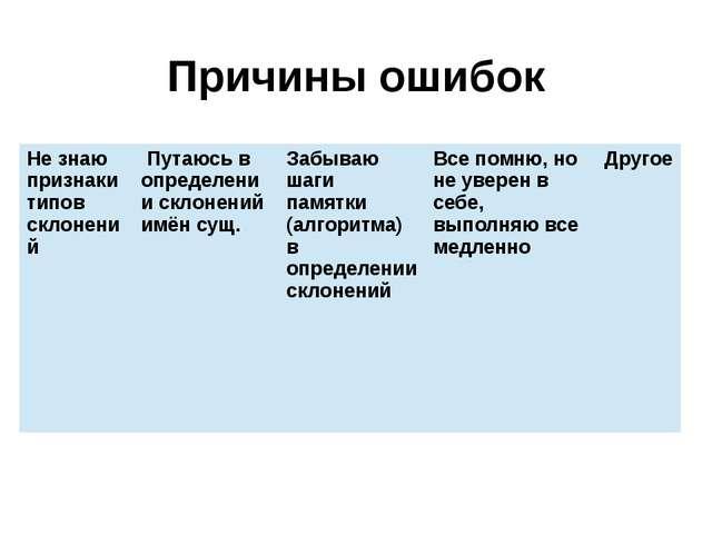 Причины ошибок Не знаю признаки типов склонений Путаюсь в определении склонен...