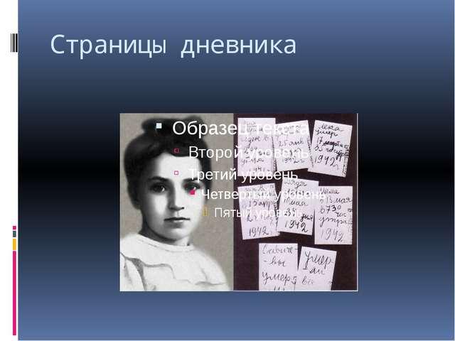 Страницы дневника