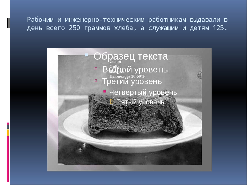 Рабочим и инженерно-техническим работникам выдавали в день всего 250 граммов...