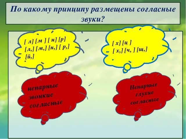 По какому принципу размещены согласные звуки?        [ л] [м ] [ н] [р...