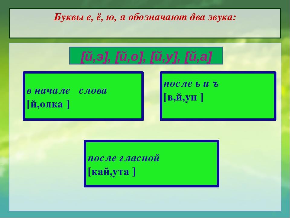 Буквы е, ё, ю, я обозначают два звука: в начале слова [й,олка ] после ь и ъ [...