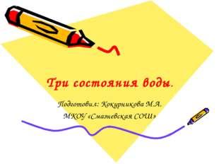 Три состояния воды. Подготовил: Кокурникова М.А. МКОУ «Смазневская СОШ»