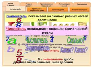 Решаем вместе Тренировочные упражнения Актуализация знаний Приложения Дроби (